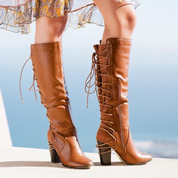 ShoeDazzle Rola Cognac Lace up Knee High Boots